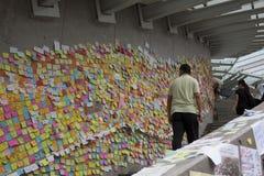 Hong Kong, Porcelanowy Oct 4, 2014, Zajmują centralę, Protestors blokują drogi w Hong Kong Środkowej dzielnicie biznesu Fotografia Stock