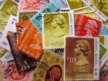 Hong Kong Postage Stamps: Regina Elizabeth II Fotografia Stock