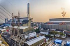 Hong Kong power station at sunset Stock Photo