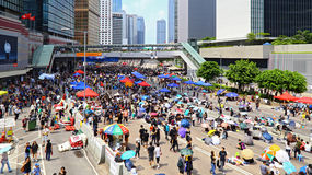 Hong kong protesters standoff 2014 Royalty Free Stock Images