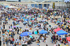 Hong kong umbrella protesters standoff 2014 Royalty Free Stock Photo