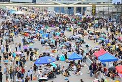 Hong kong umbrella protesters standoff 2014 Royalty Free Stock Photo