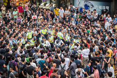 2014 Hong Kong Protesters Standoff. A scene of standoff by pro-democracy protesters royalty free stock images