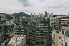 Hong Kong przepełniał budynek zdjęcia stock
