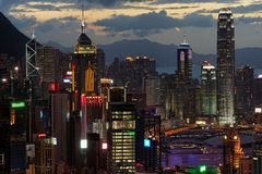 Hong Kong przy noc Obrazy Royalty Free