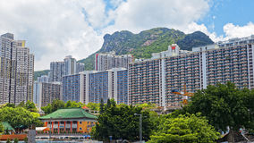 Hong kong public estate with landmark lion rock Stock Image