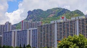 Hong kong public estate with landmark lion rock Stock Images