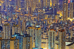 Hong Kong Public living downtown at night Royalty Free Stock Image