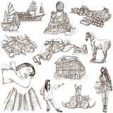 Hong Kong que viaja - ejemplo dibujado mano del mismo tamaño ningún 1 encendido Imagen de archivo libre de regalías