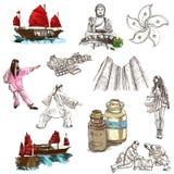 Hong Kong que viaja - ejemplo dibujado mano del mismo tamaño ningún 3 encendido libre illustration