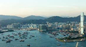 Hong Kong Queen Victoria Harbor. Beautiful view of Hong Kong Victoria Harbor Stock Photo