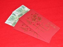 Hong Kong Red Money 50 dollars de paquet Images stock