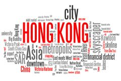 Hong Kong. Related symbols and concepts word cloud illustration. Word collage concept stock illustration