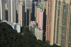 Hong Kong residential area from Victoria Peak. View of skyscrapers in Hong Kong islands residencial area as seen from Victoria Peak, Hong Kong Island, Hong Kong Stock Photography