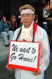 Hong Kong: Reunião de protesto coreana do WTO fotografia de stock royalty free