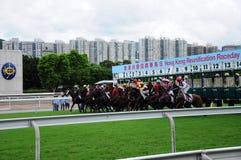 Hong Kong Reunification Cup Jockey-Clubpaardenrennen Stock Foto's
