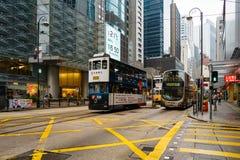 Hong Kong rocznika tramwaje nazwany Ding obrazy royalty free