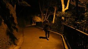 Hong Kong - romantiker som går slingor runt om maximumet på natten Royaltyfri Foto