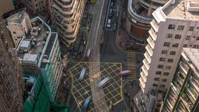Hong Kong Rooftop down crossroad construction Timelapse. 4K stock video footage
