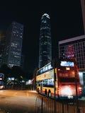 Hong Kong`s bus, night stock photo
