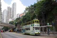 Hong Kong S.A.R. - July 13, 2017: Double decker tram or Ding Din. G on the street in Causeway Bay Hong Kong.Tram or Ding Ding is major tourist attraction and one Royalty Free Stock Images