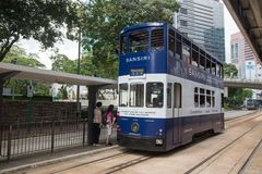Hong Kong S.A.R. - July 13, 2017: Double decker tram or Ding Din. G on the street in Causeway Bay Hong Kong. Hong Kong tramways is one of the earliest forms of Stock Photography