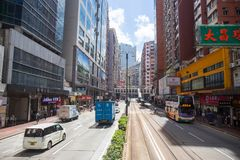 Hong Kong S.A.R. - July 13, 2017: View from Double decker tram o. R Ding Ding in Causeway Bay Hong Kong. Hong Kong tram is one of the earliest forms of public Royalty Free Stock Images