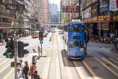 Hong Kong S.A.R. - July 13, 2017: View from Double decker tram o. R Ding Ding in Causeway Bay Hong Kong. Hong Kong tram is one of the earliest forms of public Royalty Free Stock Image