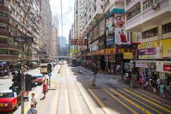 Hong Kong S.A.R. - July 13, 2017: View from Double decker tram o. R Ding Ding in Causeway Bay Hong Kong. Hong Kong tram is one of the earliest forms of public Royalty Free Stock Photography