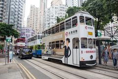 Hong Kong S.A.R. - September 22, 2017: Double decker tram on the. Street in Wan Chai.Tram or Ding Ding is major tourist attraction and one of the most Stock Image