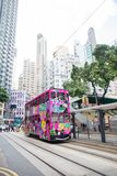 Hong Kong S.A.R. - September 22, 2017: Double decker tram on the. Street in Wan Chai.Tram or Ding Ding is major tourist attraction and one of the most Stock Images