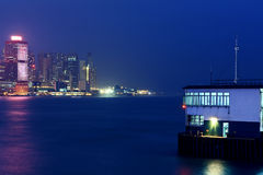 Hong Kong's Victoria Harbour at night Royalty Free Stock Image