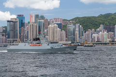 Hong Kong, SAR China - circa July 2015: Chinese Navy military cruiser destroyer ship in Hong Kong, Victoria  Harbour Stock Photos
