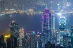 Hong Kong the scenes, victoria harbour from the peak bird view, Stock Images