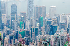 Hong Kong sceny, Victoria schronienie od szczytowego ptasiego widoku fotografia royalty free
