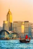 Hong Kong schronienie przy zmierzchem. Fotografia Royalty Free
