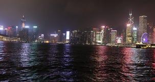 Hong Kong sea crossing. Hong Kong, China - December 1, 2016: Sea point of view from a moving ferry boat crossing the sea from Kowloon to Hong Kong island at stock video