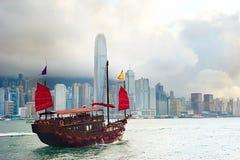 Hong Kong segelbåt royaltyfri bild