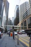 Hong Kong - 21 Sep, 2018: Mooie straat van modern Hong Kong-bedrijfsdistrict tijdens werkuren royalty-vrije stock foto