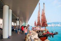 Hong Kong - September 23, 2016 :Chinese wooden sailing ship with Royalty Free Stock Images