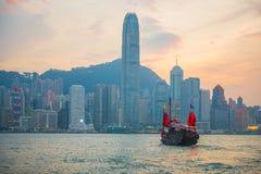 Hong Kong - September 23, 2016 :Chinese wooden sailing ship with. Red sails in Victoria harbor at Hong Kong Island, landmark Royalty Free Stock Photo