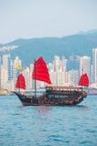 Hong Kong - September 23, 2016 :Chinese wooden sailing ship with Royalty Free Stock Photos