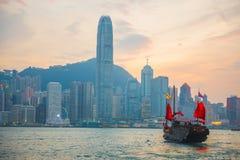Hong Kong - September 23, 2016 :Chinese wooden sailing ship with Stock Image
