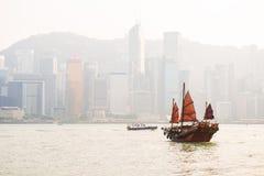 Hong Kong - September 23, 2016 :Chinese wooden sailing ship with Stock Photos