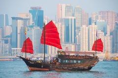Hong Kong - September 23, 2016 :Chinese wooden sailing ship with Royalty Free Stock Photography