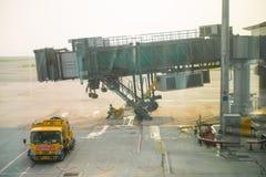 Hong Kong , 22 september 2016 :: corridor to airplane at airport Royalty Free Stock Image