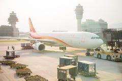 Hong Kong , 22 september 2016 :: corridor to airplane at airport Royalty Free Stock Images