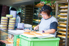 Hong Kong , 24 September 2016 :: Fresh bake bread from oven for Royalty Free Stock Photography