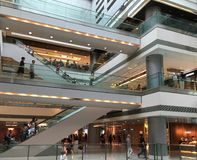 IFC in Hong Kong, China. HONG KONG - SEPTEMBER 2017: People walk in One International Finance Centre. IFC Mall is a 4 storey shopping mall, with many luxury Royalty Free Stock Images