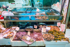 Hong Kong , 25 September 2016 :: Seafood shop for sale in fresh stock images